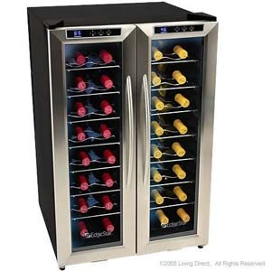 32-bottle double door wine fridge
