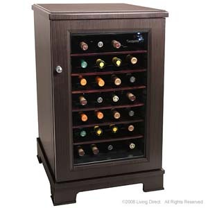 28-bottle wood-paneled wine cooler
