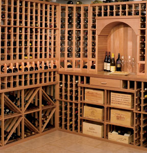 GE Monogram walk-in wine cellar-tasting rack
