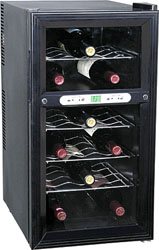 Haier 18-bottle, dual-zone wine cooler, model HVTB18DABB